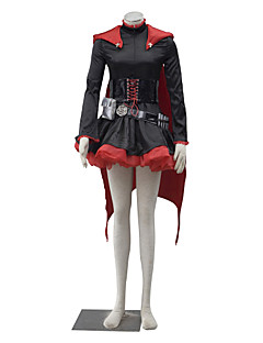 Inspired by RWBY Ruby Anime Cosplay Costumes Cosplay Suits Solid Black / Red Long Sleeve Dress