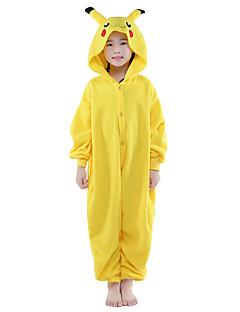 Kigurumi Pajamas New Cosplay® / Pika Pika Leotard/Onesie Halloween Animal Sleepwear Yellow Solid Flannel Kigurumi KidHalloween /