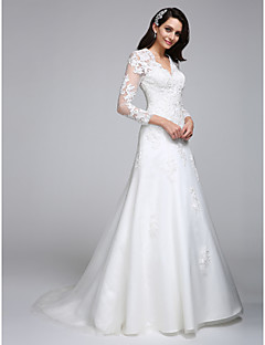 LAN TING BRIDE A-line Wedding Dress Beautiful Back Court Train V-neck Satin Tulle with Appliques