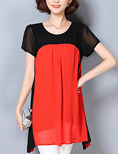 Women's Casual/Daily Vintage Spring / Summer Blouse,Floral / Color Block Round Neck Short Sleeve Polyester Thin