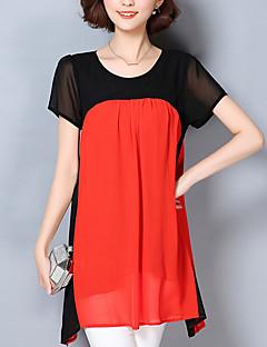 Mulheres Blusa Casual / Tamanhos Grandes Vintage Primavera / Verão,Floral / Color Block Azul / Vermelho / Laranja Poliéster Decote Redondo