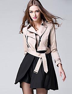 BURDULLY® Dames Overhemdkraag Lange mouw Trenchcoat Kameel-9126