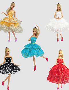 Party/Abends Kleider Für Barbie-Puppe Rot / Gold / Weiß / Schwarz / Blau Spitze Kleider Für Mädchen Puppe Spielzeug