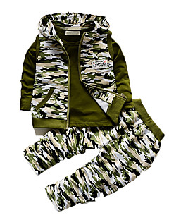 Boy's Casual/Daily Print Clothing Set,Cotton Fall Green / Gray