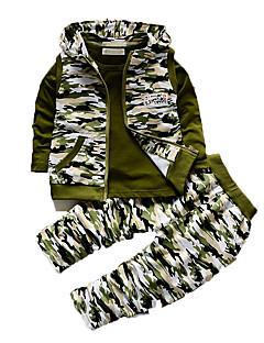 Jungen Kleidungs Set-Lässig/Alltäglich Druck Baumwolle Herbst Grün / Grau