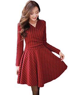 Women's Going out Sophisticated A Line Dress,Houndstooth V Neck Above Knee Long Sleeve Red / Black Cotton Fall / Winter