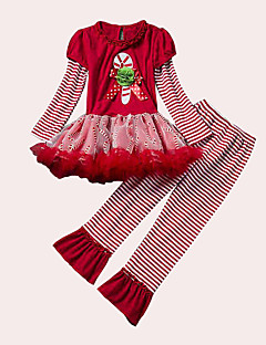 Girl's Casual/Daily Striped Clothing Set,Rayon Spring / Fall Red