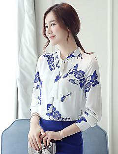 여성의 플로럴 셔츠 카라 긴 소매 셔츠,심플 / 귀여운 신사화 / 작동 블루 폴리에스테르 봄 / 가을 얇음
