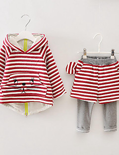 Girl's Casual/Daily Striped Hoodie & Sweatshirt / Clothing Set / Leggings,Cotton Spring / Fall Red / Gray