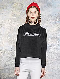Dame Simpel I-byen-tøj Normal Hættetrøjer Bogstaver,Hvid / Sort Rund hals Langærmet Polyester / Spandex Forår / Efterår Medium