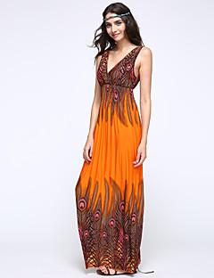 여성의 해변 스윙 드레스 프린트 맥시 딥 V 면