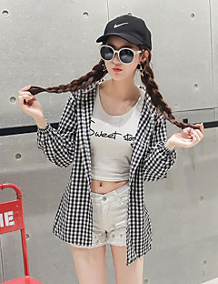 Women's Casual/Daily Simple Summer / Fall BlazerCheck Hooded Long Sleeve Black Cotton / Polyester Thin