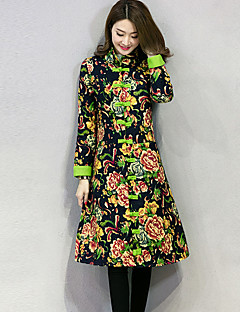 Women's Print Red / Green Padded Coat,Vintage Stand Long Sleeve