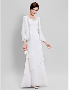 Lanting Bride Sheath / Column Plus Size / Petite Mother of the Bride Dress - Wrap Included Floor-length Long Sleeve Chiffon withBeading /