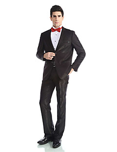 2017 Tuxedos Tailored Fit Peak Single Breasted Two-buttons  Wool & Polyester Blended Solid 2 Pieces Black