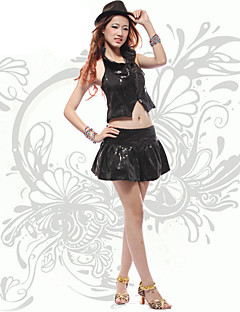 Jazz Outfits Women's Performance Sequined Split Front 2 Pieces Black / Silver Jazz Natural Top / Skirt