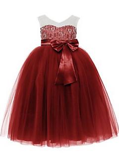 Balo Abiyesi Diz Boyu Çiçekçi Kız Elbisesi - Dantelalar / Tül Kolsuz V-Yaka ile Boncuk / Fiyonk / Dantel / Kurdeleler