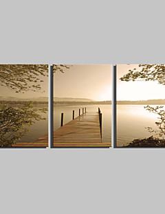 Landschap Klassiek Traditioneel,Drie panelen Verticaal Print Art Muurdecoratie For Huisdecoratie