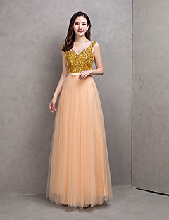 Floor-length Tulle Bridesmaid Dress - Sparkle & Shine / Lace-up A-line Scoop with Sash / Ribbon