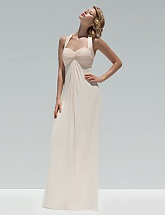 Floor-length Chiffon Bridesmaid Dress A-line Halter with Buttons / Criss Cross