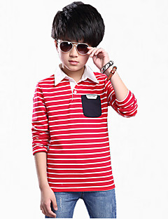 Menino de Camiseta,Casual Xadrez Algodão Todas as Estações / Primavera / Outono Verde / Vermelho