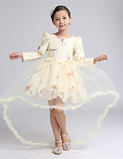 Ball Gown Asymmetrical Flower Girl Dress - Satin / Tulle Long Sleeve Jewel with Crystal Detailing / Pattern / Print