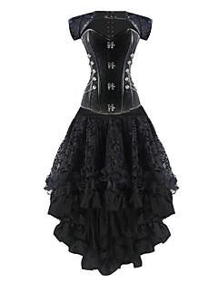 Burvogue Women's Steel Boned Bustier Tops Overbust Steampunk Corset Dress