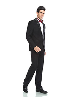 2017 Tuxedos Tailored Fit Peak Single Breasted Two-buttons  Wool & Polyester Blended Solid 2  Piece Black