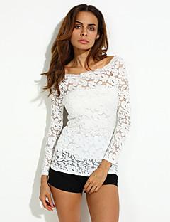 Vrouwen Eenvoudig Herfst T-shirt,Casual/Dagelijks Effen Boothals Lange mouw Rood / Wit / Zwart Spandex Medium
