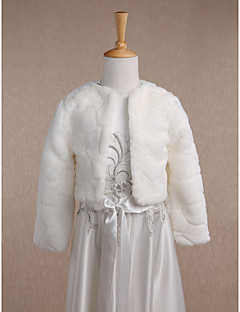 Kids' Wraps Coats/Jackets Long Sleeve Faux Fur Ivory Wedding Party/Evening Casual Scoop 34cm Pattern Open Front