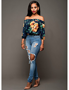Women's Sexy Simple Boat Neck Off Shoulder Floral Print Summer Blouse