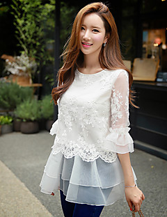 DABUWAWA Women's Ruffle/Lace Going out / Casual / Holiday Cute / Street chic / Sophisticated Blouse,Solid / Embroidered Round Neck ¾ Sleeve