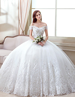 A-라인 웨딩 드레스 바닥 길이 오프 더 숄더 오간자 와 패턴