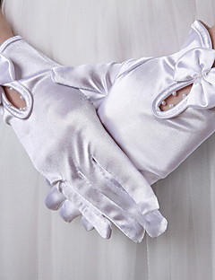 手首丈 指先 グローブ サテン ブライダル手袋 春 夏 秋 冬 真珠 リボン