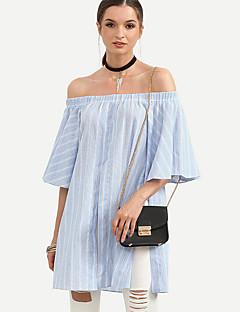Camicia Da donna Per uscire Moda città Autunno,A strisce A barca Cotone Blu Mezze maniche Medio spessore