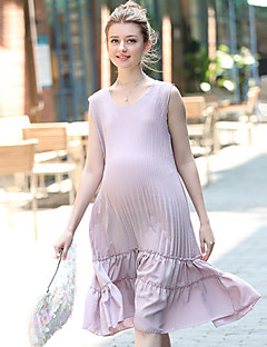 Maternity Casual/Daily Simple Loose Dress,Solid Round Neck Knee-length Sleeveless Purple Others Summer