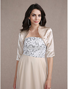 Wedding  Wraps Coats/Jackets Half-Sleeve Satin Silver / As Picture Shown Wedding / Party/Evening High Neck T-shirt Open Front