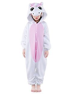 Kigurumi Pyjamas Unicorn Trikot/Heldragtskostumer Festival/Højtider Nattøj Med Dyr Halloween Lyserød Patchwork Polarfleece Kigurumi Til