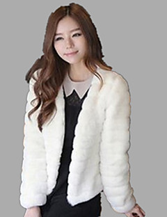 Women's Plus Size / Casual/Daily / Party/Cocktail Sexy / Simple Fur Coat,Solid Round Neck Long Sleeve Fall /