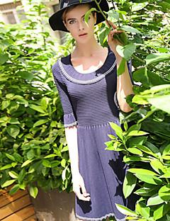 Damen Strickware Kleid-Ausgehen Retro Solide U-Ausschnitt Übers Knie ½ Länge Ärmel Blau Andere Frühling / Herbst Mittlere Hüfthöhe