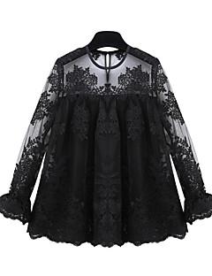 Blusa Da donna Per uscire Moda città Autunno,Collage Rotonda Poliestere Bianco / Nero Manica lunga Trasparente