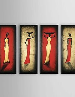 El-Boyalı Soyut / İnsanlar / Soyut Portreler Yağlıboya,Modern / Klasik / Avrupa Tipi Dört Panelli Kanvas Hang-Boyalı Yağlıboya Resim For