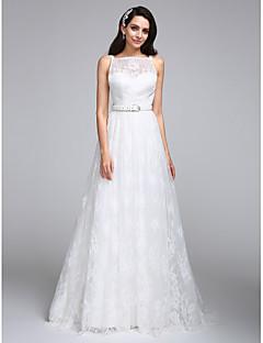 2017 A-line Wedding Dress Floor-length Bateau Lace with Lace / Sash / Ribbon