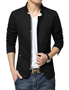 Men's Long Sleeve Casual / Work Jacket,Cotton Solid Black / Blue / Red / Beige / Gray
