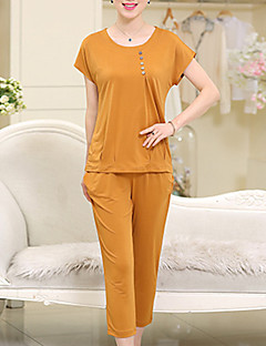 Women's Plus Size / Casual/Daily Vintage Spring / Fall Set,Solid Round Neck Short Sleeve Red / Orange / Yellow