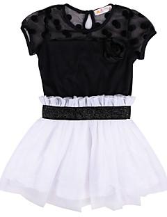 שמלה יום יומי\קז'ואל פרחוני כותנה / ספנדקס קיץ שחור / לבן הילדה של