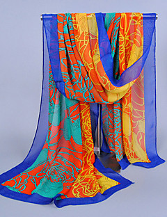 Women's Chiffon Flowers Print Scarf,Eight Colors For Choose