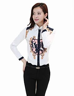Vrouwen Vintage Alle seizoenen Overhemd,Casual/Dagelijks Print Overhemdkraag Lange mouw Wit Polyester Medium