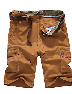 Men's Solid Casual Shorts,Cotton Blue / Brown / Green / Red