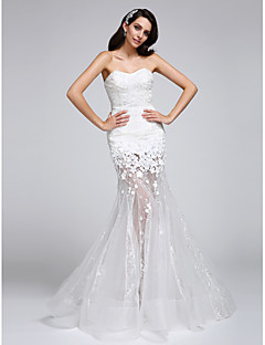 LAN TING BRIDE Trumpet / Mermaid Wedding Dress See-Through Floor-length Sweetheart Lace Organza with Flower Lace